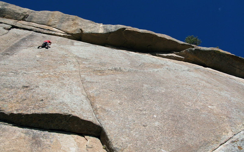 Buster Jesik on the traverse of Pressure Drop.