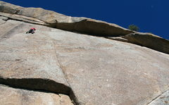 Rock Climbing Photo: Buster Jesik on the traverse of Pressure Drop.