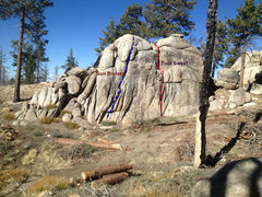 Rock Climbing Photo: Sun Bisters is the left route on the topo.  It loo...