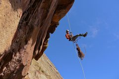 Rock Climbing Photo: Heather Weidner rapping over the crux roof for ano...