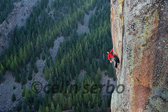 Rock Climbing Photo: Chris Weidner beginning the crux of the 12c pitch....