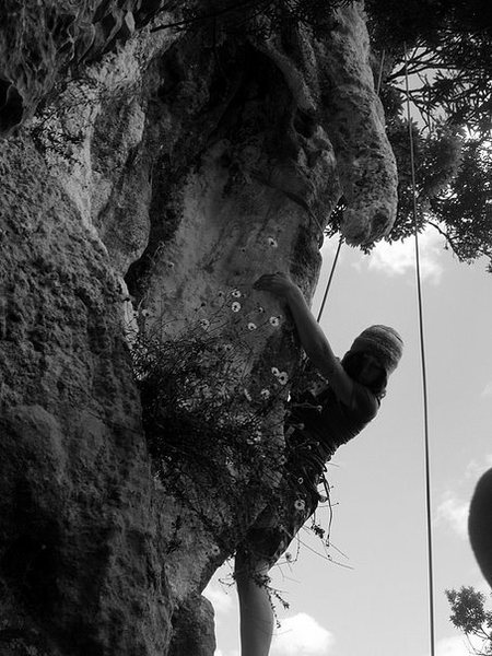 Rock Climbing Photo: Katie on Eleusis