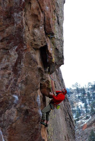 Rock Climbing Photo: Scott Rourke following Guen-Ice.