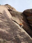Rock Climbing Photo: Alan Ream.  First pitch of Tee Pee Tower Crack 5.9...