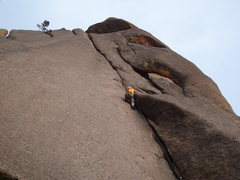 Rock Climbing Photo: Alan Ream. First pitch of Tee Pee Tower Crack 5.9 ...
