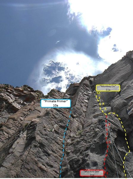 Topo of Monkey See, Monkey Do, and Primate Primer....three great routes