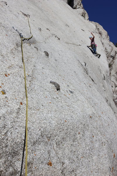 Happy to clip the bolt after the exposed traverse on the third pitch.  Props to Bill Robins for that traverse.