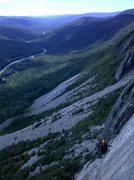 Rock Climbing Photo: Climbing Sam's Swan Song up Cannon Cliff with Mark...