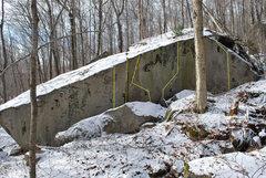 Rock Climbing Photo: The backside of the Corridor Boulders. 1. Circle C...