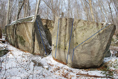Rock Climbing Photo: The frontside of The Corridor Boulders:  1. Red Li...