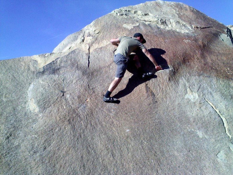 Pulling through the crux section of Fear The Bulge.