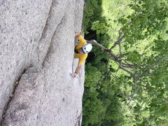 Rock Climbing Photo: The last hard move before an easy run out to the a...