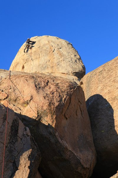 Rock Climbing Photo: Working up the headwall on the FA of The Rubster.