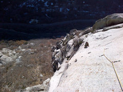 Rock Climbing Photo: Looking down at the third pitch