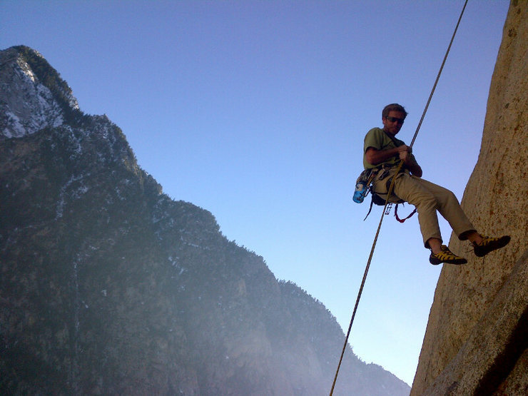 Rock Climbing Photo: the third rap to the ledge