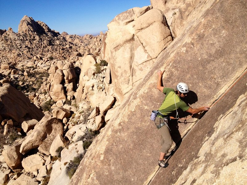 Richard Shore following the beautiful corner of the Bighorn Dihedral. Photo by Mark Collar