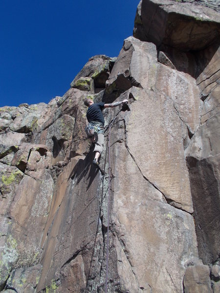 "Rock Climbing Photo: Mike Keegan after the crux, ""This Bolt is for..."