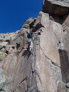 """Rock Climbing Photo: Mike Keegan after the crux, """"This Bolt is for..."""