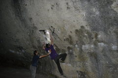 Rock Climbing Photo: Dominik getting to the first of the three pockets....