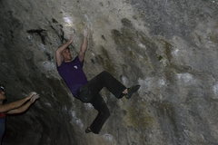 Rock Climbing Photo: Dominik heading for the third big pocket.