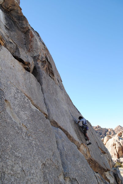 the first crux, well protected, unlike the move to get to the bolt<br>