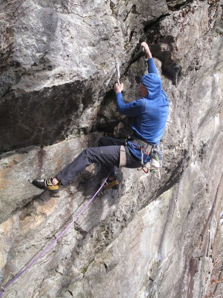 Justin Guarino on the towers first crux