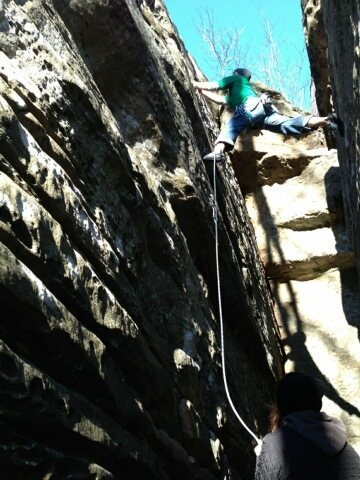 Rock Climbing Photo: At the second clip.  Stem to the third if you can ...