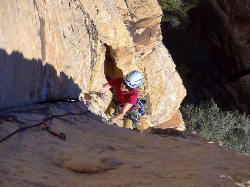 Rock Climbing Photo: Ascending the shallow groove on pitch 2. November ...