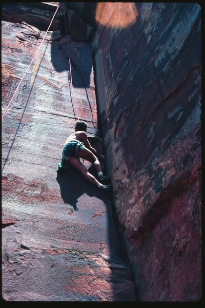 Crack on S face of Battleship, South Rim, Grand Canyon