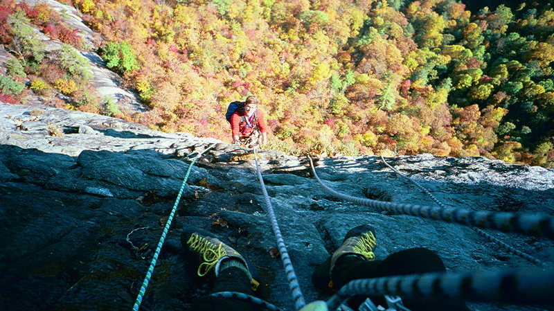 Whitesides Mt, NC.  wet belay above the 5.11 pitch