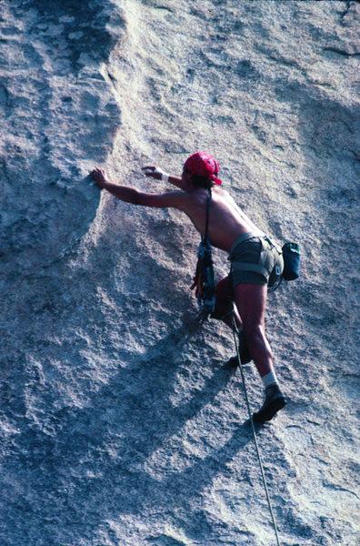 Rock Climbing Photo: Crux move, Black Tide, Echo Rock, Joshua Tree 82'