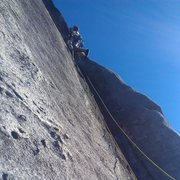 This is me drilling bolt 3 (crux) on lead - Shannon Stegg and Margaret Tanner on belay