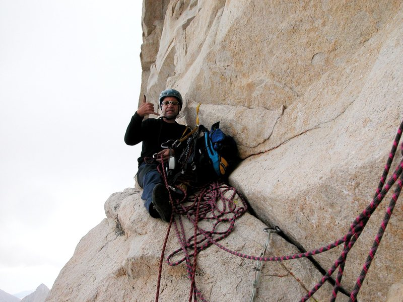 Belay in middle of fresh air traverse, Mt Whitney