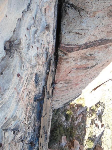 Rock Climbing Photo: Jim followin through the crux.