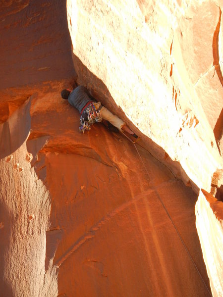 Rock Climbing Photo: John Widerman about to get WIDE.