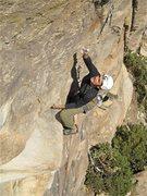 Rock Climbing Photo: Jesse Schultz flies through the crux.