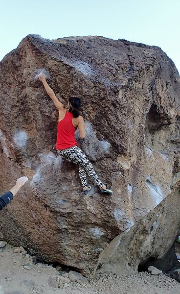 Jackie Trejo catching the tiny crimp at the crux.