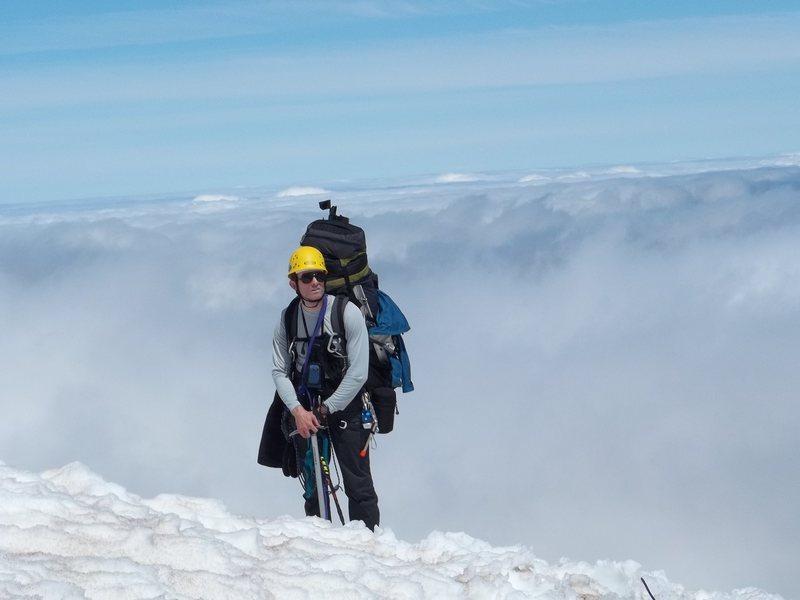 Tim Silvers on the ridge line above Inter Glacier