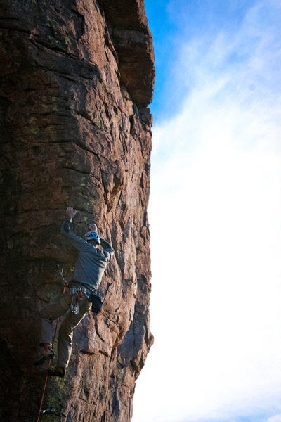 Rock Climbing Photo: D.A. does great, hard climb IMO!