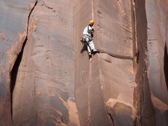 Rock Climbing Photo: In the midst of the wide stuff- size 11 feet and e...