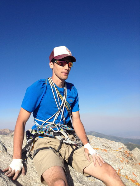eric atwell appreciating the view after topping out on vertical overhangs