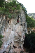 Rock Climbing Photo: A climber at the anchor of Nuat Hin while one of g...