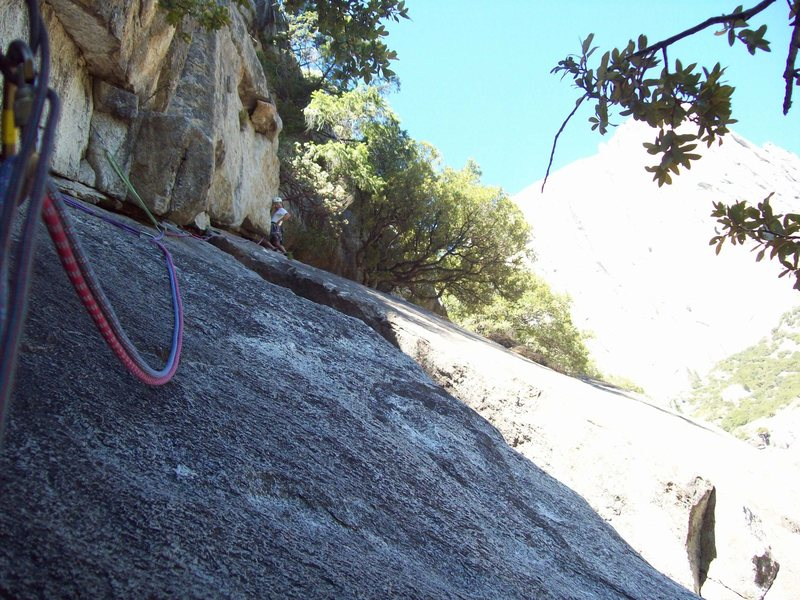 John Hoffman working on the second pitch of this interesting climb.