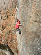Rock Climbing Photo: Jonathan Garlough in the crux on the FA