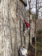 Rock Climbing Photo: Loran at the second bolt