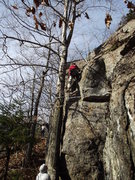 Rock Climbing Photo: Loran on the FA right in the middle of the route