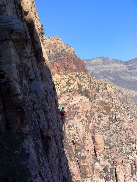 Rock Climbing Photo: Group of three climbers from Durango on the second...