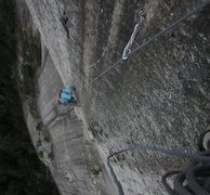Rock Climbing Photo: The aid pitch above the Sword, on a very cold day....