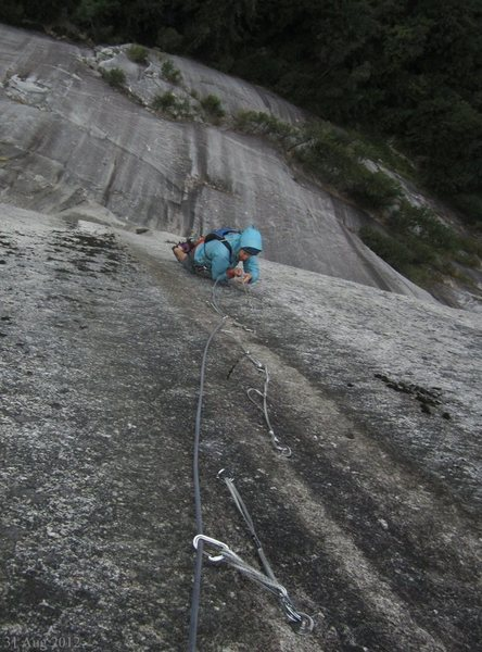 Rock Climbing Photo: Aid pitch, standing on the dental-floss slings hur...