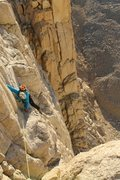 Rock Climbing Photo: Pitch 1 of East Face of Whitney right as the sun c...